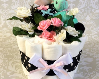 Baby Girl - Teal and Pink one tier Blanket Diaper Cake - an adorable baby shower gift, available now and ready to ship
