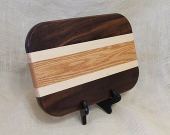 Cheese / Sushi Board Striped with Hardwoods Maple, Oak and Walnut