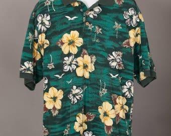 Men's 90s Flower Print Polo Shirt - Tommy Bahama - L