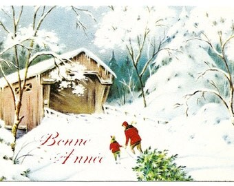 Covered Bridge & Cross Country Skiers Snow Scene Vintage French Christmas Card from Vintage Paper Attic