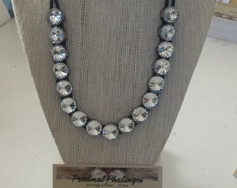 Radiant Rhinestone gems upcycled and strung on dual leather cords - Statement necklace