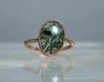 Antique 9k Gold Moss Agate Ring Size 4.50 Translucent Agate Cabochon Simple yet Quality Antique Ring DanPickedMinerals