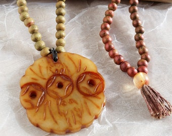Carved Buddhist Pendant Necklace, Wood Bead Zen