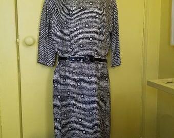 1960s Black and White Geo Print Silk Sheath Dress M Frances Shop
