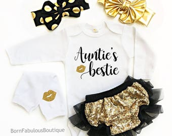 Auntie's Bestie Outfit - Auntie Baby Gift - Aunt Baby Gift - Auntie Onesie - Baby Gift From New Aunt