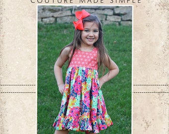 Marjorie's Top, Dress, and Maxi PDF Pattern sizes 2T to 14 girls