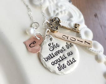 She Believed She Could So She Did . Personalized Grad . Graduation Jewelry . Personalized Necklace . Graduation . Graduation Jewelry