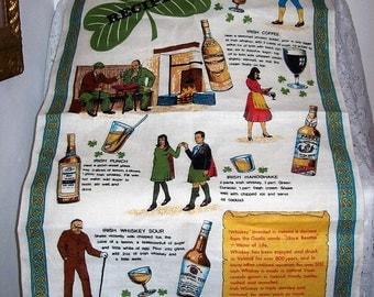 Vintage Decorative Linen Kitchen, Dish, Tea or Bar Towel Irish Whiskey Recipes Nelson Only 9 USD