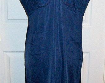 Vintage 1960s Ladies Blue Slip by Vanity Fair Size 40 Only 10 USD