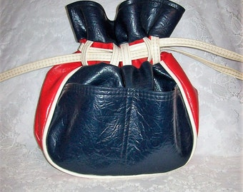 Vintage 1960s Ladies Red, White & Blue Drawstring Purse by Tex Made Only 11 USD