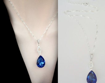 Sapphire blue necklace ~ Sterling Silver Necklace -Teardrop - Sapphire blue crystal necklace- Something blue - Septembers birthstone - Gift
