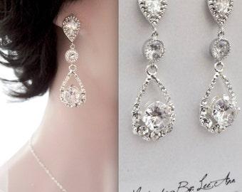 Crystal earrings, Brides earrings, Crystal wedding earrings, Sterling posts,Crystal teardrop earrings,Wedding jewelry,Bridal earrings, KALI