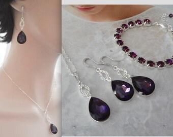 Purple jewelry set ~ 3 piece ~ Amethyst crystal jewelry set~ Purple necklace, bracelet, earrings ~ Bridal jewelry set ~ February birthstone