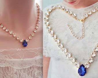 Bridal jewelry - Swarovski crystal necklace - Brides necklace - Vintage crystal Sapphire drop - Something blue - Statement necklace - SOPHIA