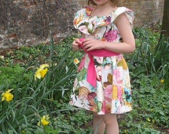 Tulip dress - made to order - party beach summer dress floral tropical girls sash ruffle by Climbing Rose
