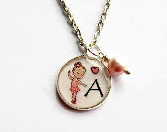 Ballerina Necklace, Custom Initial Letter Necklace, Ballet Dancer Pendant, Girls Necklace, Personalised Gift, Childs Jewelry, Small 18mm
