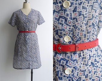 Vintage 70's 'Hip To Be Square' Blue V-Neck Shift Dress M or L