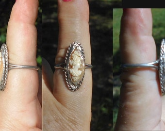 1 Ring, Vintage Sterling Silver Hand Carved CAMEO Size 8.5 Unmarked Silver Twisted Rope, Equisite Small Carving w/ Flowers Cameo. Only 99.90