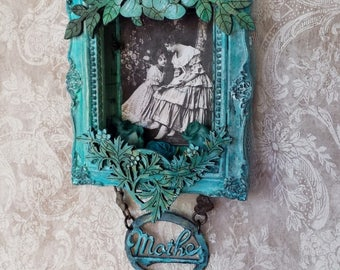 Dear Mother- framed altered tin, wood embellishments, vintage metal Mother word on vintage metal heart chain
