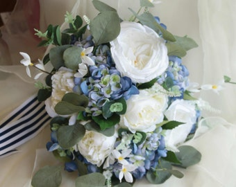Boho wedding bouquet. Blue and white bouquet. Eucalyptus, peony, garden rose and hydrangea. Silk bouquet, bridal bouquet, wedding flowers