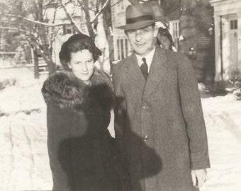 "Vintage Snapshot ""Smile!"" Photographer Shadow Fedora Found Vernacular Photo"