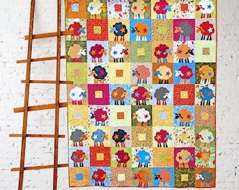 SCRAP BIN SHEEP | pdf Quilt pattern | Patterns | Quilts | Sheep Quilt | Sheep | Applique Quilts | Happy Quilts | Kids Quilts | Farm Quilts
