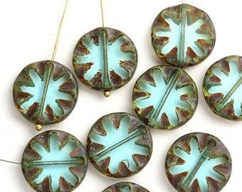 18mm Picasso Aqua Blue Round flat beads, Coin shape czech glass rustic beads - 4Pc - 0043