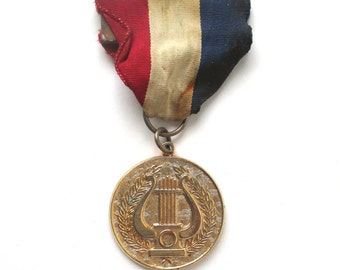 Marching Band Medal, 1950s Vintage, Gold Medal, Sports Medal, Music Award, School Spirit, Band