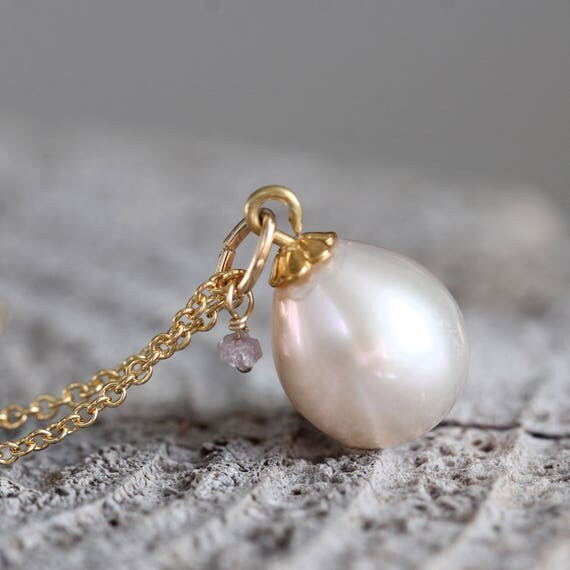 Pearl Teardrop Necklace - Ivory Pearl & Diamond Necklace