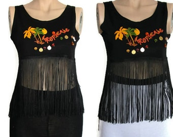 Black Top, Beads Cropped Fringe Top, Tropical Top, Vintage Top,Hawaii Crop Top, fringe top, Summer goth, sleeveless top, Black Blouse, Tank.