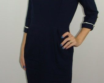 smart vintage NAVY CAREER DRESS piped 3/4 sleeves S junior accent