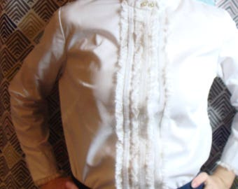 1970's CRISP WHITE BLOUSE ruffle front long sleeve collarless M