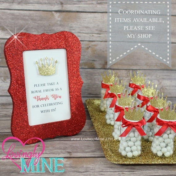 Prince Baby Shower Favors: 4 X 6 Frame Glitter Red Favor Table Sign Glitter Gold Prince