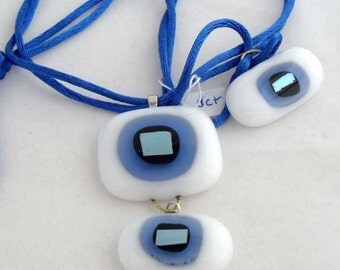 2-piece fused glass blue and white pendant