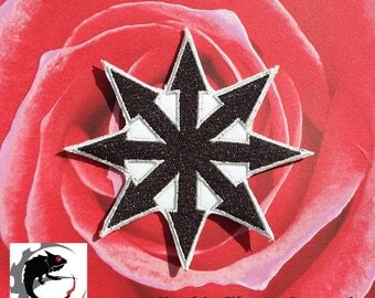 Black Chaos Symbol Embroidered Patch Applique Very Gothic Emo Punk