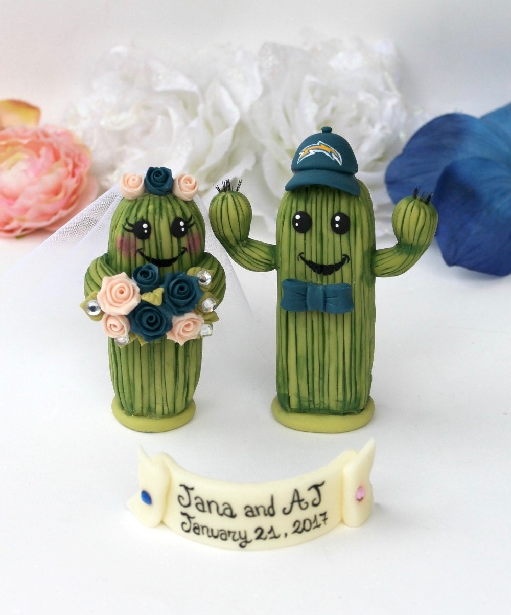 Wedding cactus cake topper bride and groom cake topper