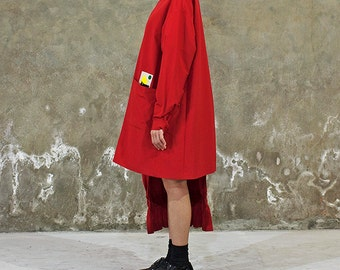 Red Oversized Jacket with concept badge for unisex - International Freeshipping