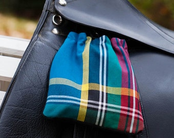 Ready to Ship - Teal, Red, and Yellow Plaid Reversible Stirrup Covers