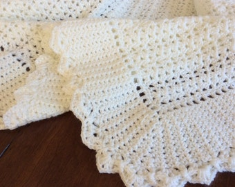 Baby blanket, off white, crochet, beautiful textured edge, soft quality baby yarn, Baby Shower gift, Christening, Baptism, FREE USA shipping