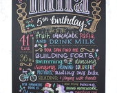 """5th birthday chalkboard style custom ink drawing on 15""""x20"""" art board, the original Favorite Things Poster™"""