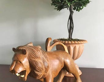 Vintage Hand Carved Wooden Lion Statue