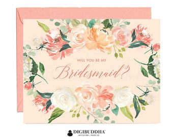 Will You Be My Bridesmaid Card, Bridesmaid Cards, Matron of Honor, Ask Bridesmaid Card, Maid of Honor Flower Girl Card Coral Envelope WC0002