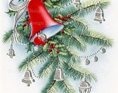 Vintage Christmas Joy Red Bell on Branch Silver Decorations Printable Digital Download JPG Image