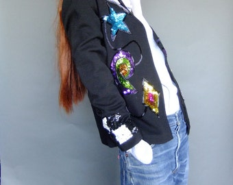 black cardigan sweater, vintage 80s sweater, pop art sweater, sequinned sweater, vintage sweater