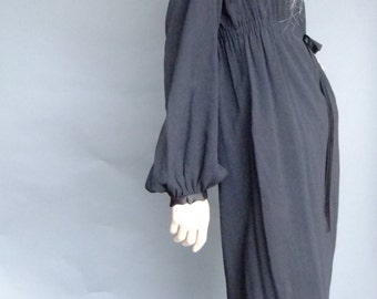 black dress, LBD, bishop sleeves, empire waist, vintage black wiggle dress, classic 50s dress