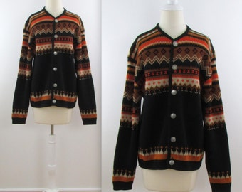 Norvyk Alpine Ski Sweater - Vintage 1960s Nordic Wool Cardigan in xLarge