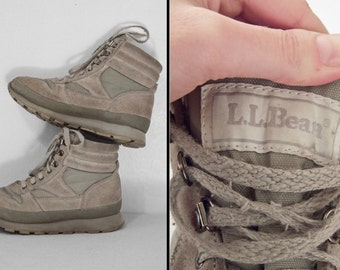 LL BEAN G2 Boots Hiking Sneakers 1990s Gray Suede Women's Size 7 Thinsulate