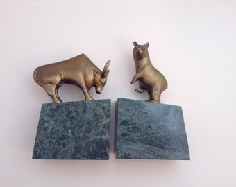 Vintage Pair of Bull and Bear Brass and Marble Bookends