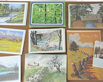 34 Piece Lot Vintage Mountain Blank Greeting Cards