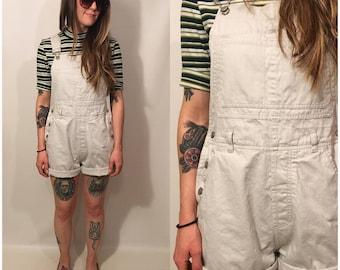Vintage 90s Beige Overalls Short Khaki Size Small